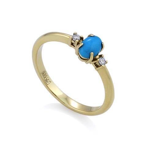Золотое кольцо с бриллиантами и бирюзой 2.4 г SL-0117-240