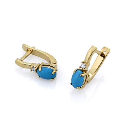 Золотые серьги с бриллиантами и бирюзой 2.45 г SL-0313-345