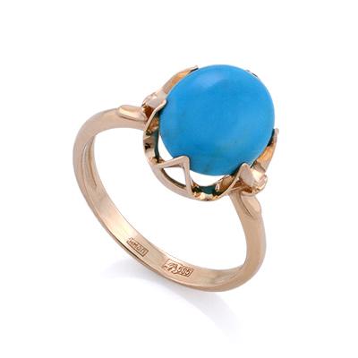 Золотое кольцо с натуральной бирюзой 3.58 г SL-0222-360