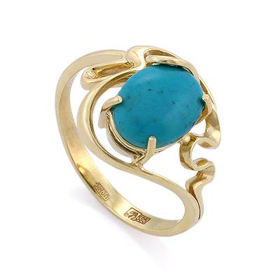 Кольцо с бирюзой в золоте 3.85 г SLK-0280-390