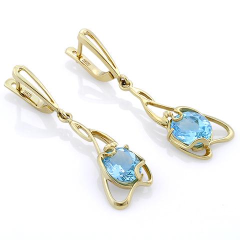 Серьги с голубым топазом из золота 6.5 г SLK-0380-620