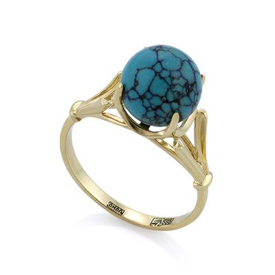 Золотое кольцо с природной бирюзой 3.12 г SL-0259-307