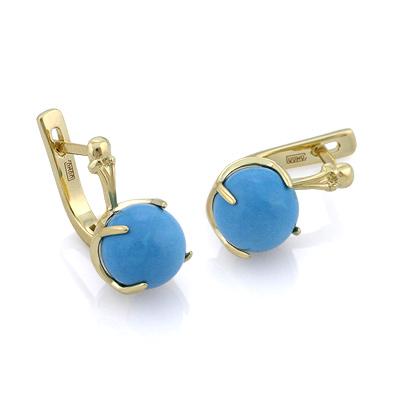 Золотые серьги  с  голубой бирюзой 5.75 г SL-0359-485