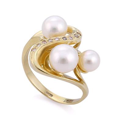 Золотое кольцо с бриллиантами и жемчугом 6.69 г SLK-2870-675