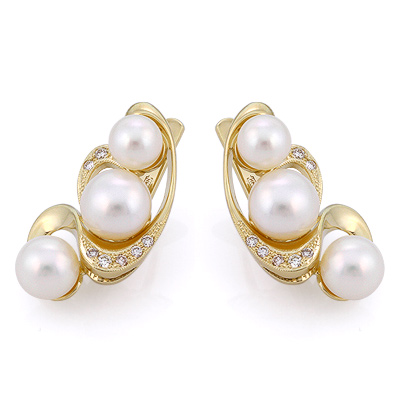 Серьги с жемчугом и бриллиантами 9.95 г SLK-3870-1040