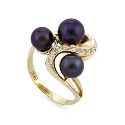 Золотое кольцо с бриллиантами и черным жемчугом 6.71 г SLK-2870-680