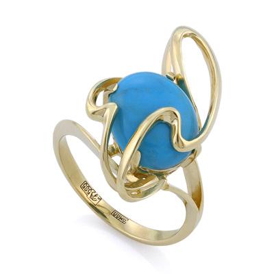 Золотое кольцо с бирюзой 4.4 г SLK-2845-440