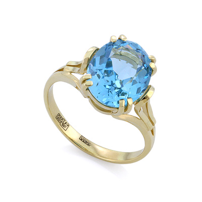 Кольцо с топазом (голубым) 4.1 г SLK-2854-400