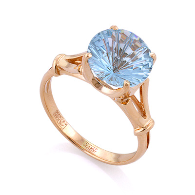 Кольцо с топазом (голубым круг) 3.65 г SL-0255-375