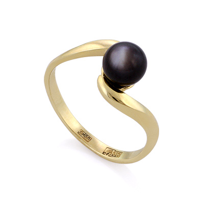 Кольцо с черным перламутром 2.28 г SL-0201-230