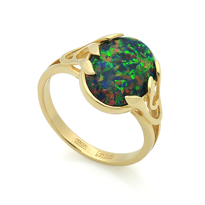 Золотое кольцо с черным опалом 3.6 г SL-2842-360