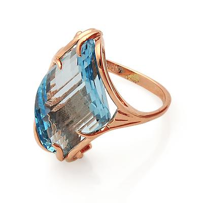 Кольцо с топазом (голубым) 5 г SL-0243-501