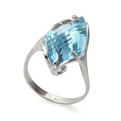 Кольцо с топазом (голубым) 5.5 г SL-0243-500