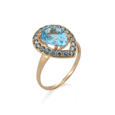 Кольцо с топазом (голубым) в форме капли 3.39 г SV-0508-340