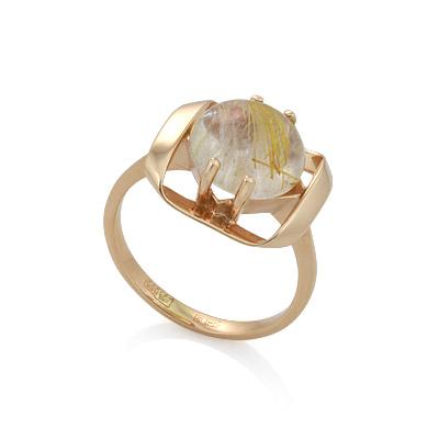 Золотое кольцо с рутиловым кварцем 3.31 г SV-0444-330