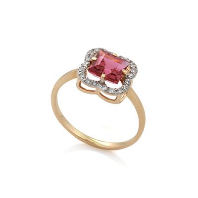 Золотое кольцо с турмалином и бриллиантами 1.81 г SV-0514-180