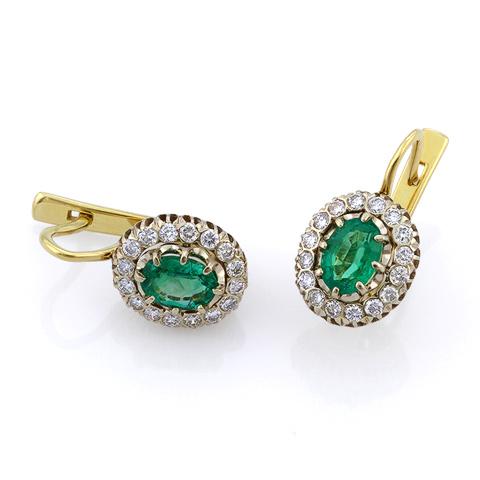 серьги золотые c бриллиантами
