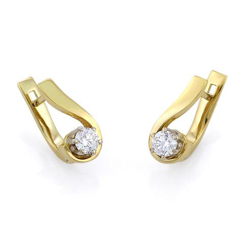 Золотые серьги с бриллиантами 3.6 г SLV-S217G