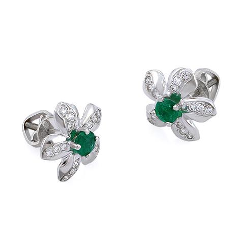 Серьги с изумрудом и бриллиантами «Цветок» 3.02 г SLV-S051