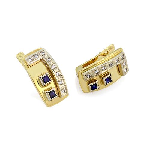 Золотые серьги с сапфирами и бриллиантами 7.67 г SLV-S006