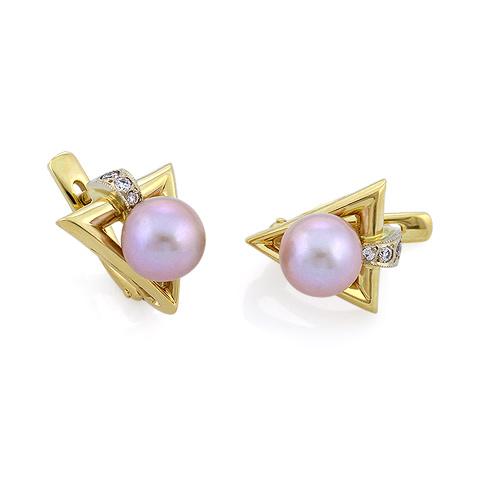 Золотые серьги с розовым жемчугом и бриллиантами 8.56 г SLV-S073