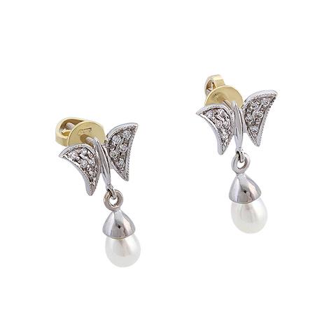Серьги «Бабочки» с жемчугом и бриллиантами 2.5 г SLV-S220