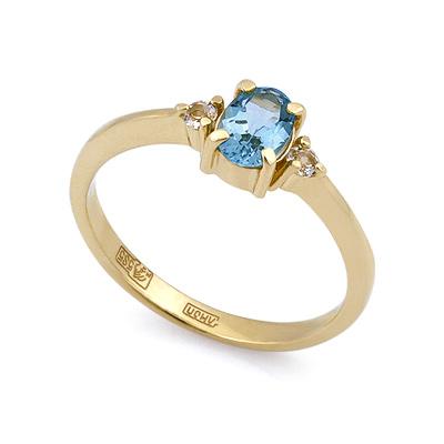 Золотое кольцо с аквамарином и