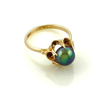 Черный жемчуг в золотом кольце 3.34 г SL-0221-334