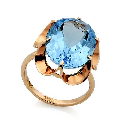 Кольцо с топазом (голубым) 5.22 г SL-0225-522