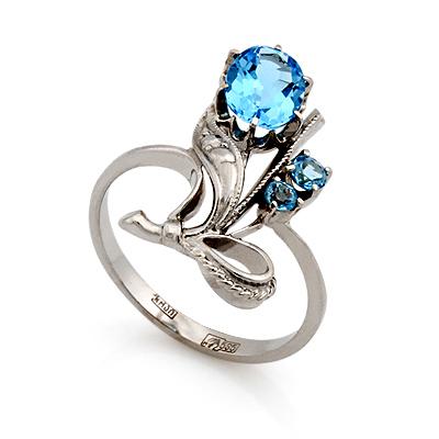 Кольцо с топазом (голубым) 3.43 г SL-0227-343