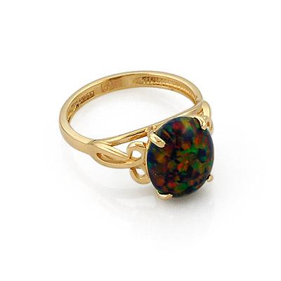 Золотое кольцо с черным опалом 3.46 г SL-0235-346