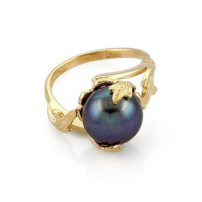 Оригинальное кольцо с черной жемчужиной 5.72 г SL-0242-572