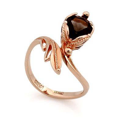 Золотое кольцо с раухтопазом 3.77 г SL-0245-377