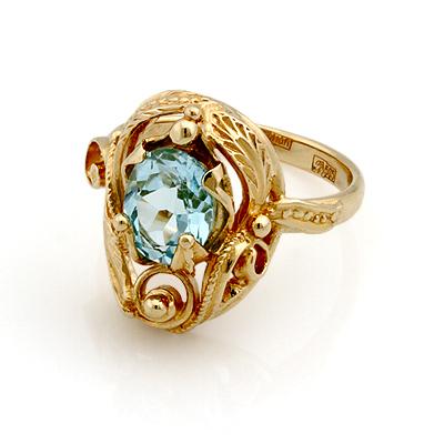 Кольцо с топазом (голубым) 5.44 г SL-0245-544