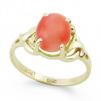 Кольцо с натуральным глубоководным кораллом 2.85 г SL-0249-285