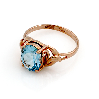 Кольцо с топазом (голубым) 3.1 г SL-0249-310