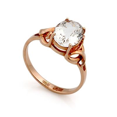 Золотое кольцо с горным хрусталем овал 3.2 г SL-0249-320