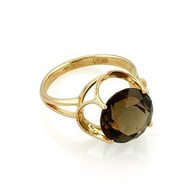Золотое кольцо с раухтопазом 3.7 г SL-0253-366