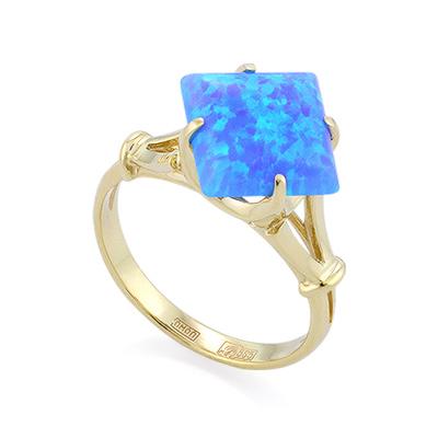 Кольцо с голубым синтетическим опалом из желтого золота 3.2 г SL-0255-321