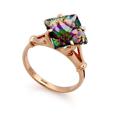 Кольцо с мистик хрусталем в золоте 3.79 г SL-0255-379
