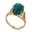 Золотое кольцо с «паутинной бирюзой» огранки шар