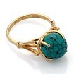 Золотое кольцо с «паутинной бирюзой» огранки шар 3.91 г SL-0255-391