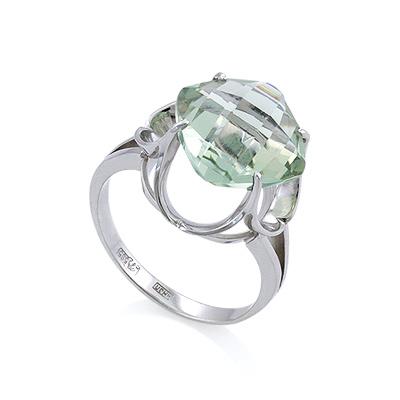 Кольцо из белого золота с зеленым аметистом 4.57 г SL-0263-457