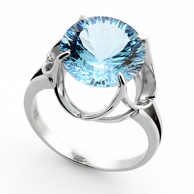 Кольцо с топазом (голубым) 4.95 г SL-0263-495