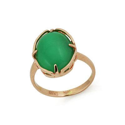 Кольцо с хризопразом (натуральным) 4.25 г SLK-0285-420