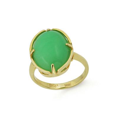 Кольцо с хризопразом 4.44 г SLK-0285-440