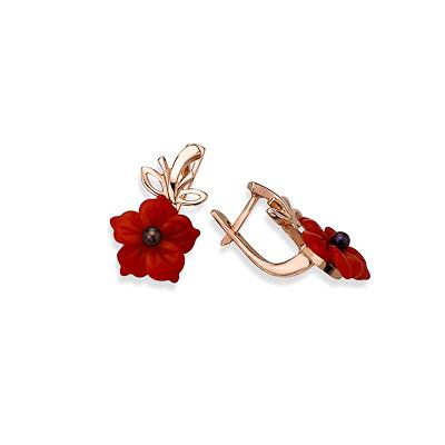 Серьги с красным кораллом 5.3 г SL-0317-530