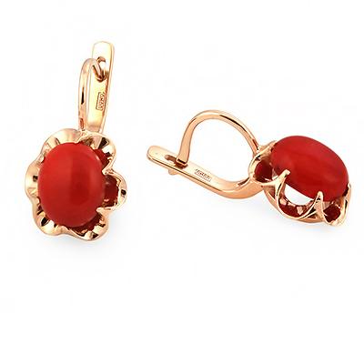 Золотые серьги с красным кораллом 5.3 г SL-0323-530