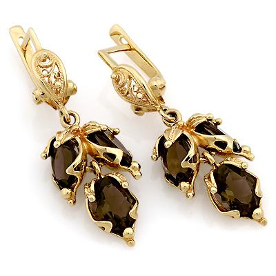 Золотые сережки с раухтопазом 10.97 г SL-0345-1097