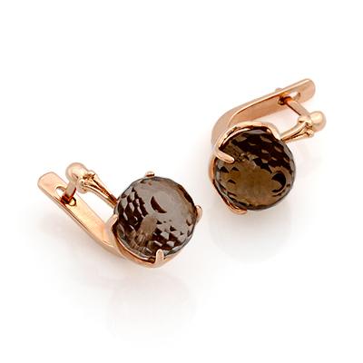 Раухтопаз в форме шара - серьги из золота 6.11 г SL-0355-611